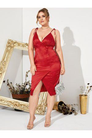 YOINS Women Midi Dresses - Plus Size Deep V Neck Spaghetti Strap Sleeveless Midi Dress