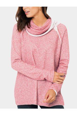 YOINS Contrasting Roll Neck Long Sleeves Stitching Sweatshirt