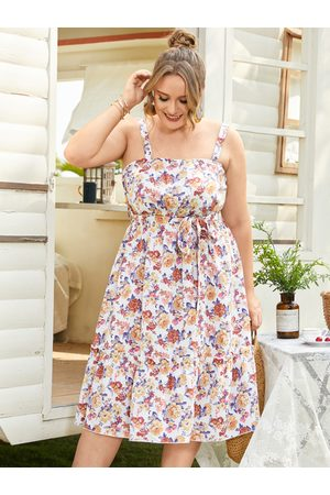 YOINS Women Printed Dresses - Plus Size Floral Print Elastic Strap Sleeveless Dress