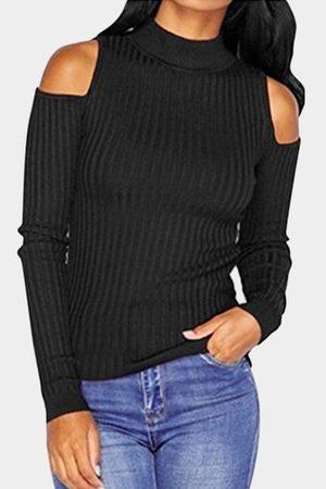 YOINS Open Shoulder Round Neck Bodycon Sweaters