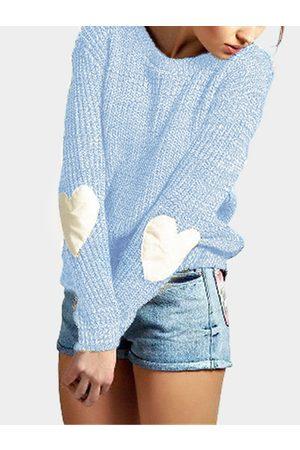 YOINS Women Jumpers - Sky Round Neck Love Patchwork Sweater