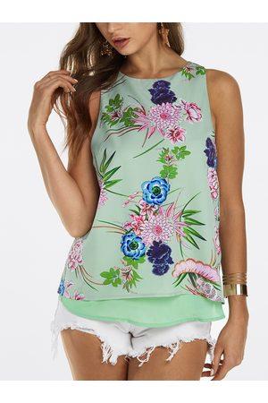 YOINS Women Tank Tops - Slit Design at Back Random Floral Print Sleeveless Tank Top