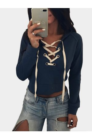YOINS Deep Lace-UP V-Neck Long Sleeves Hoodie