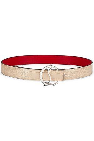 Christian Louboutin Logo Croc-Embossed Leather Belt
