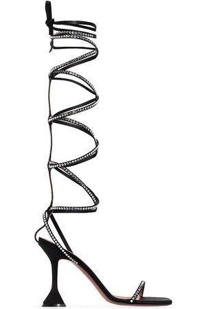 Amina Muaddi Women Sandals - X AWGE thigh-high satin sandals