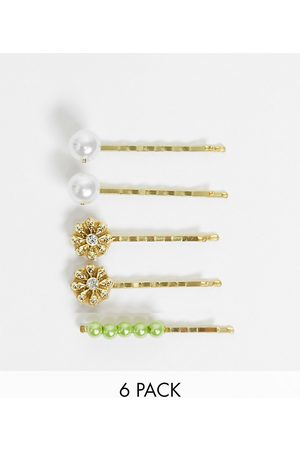 ASOS Pack of 6 hair clips with flower detail
