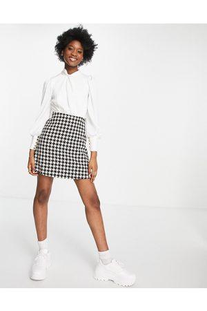 Little Mistress Women Skirts - 2-in-1 check boucle skirt mini dress in monochrome-Multi