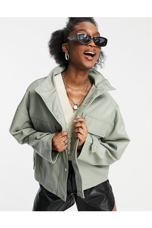 ASOS Oversized chuck on faux leather jacket in sage