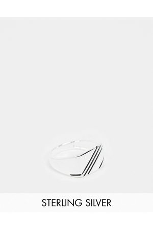 ASOS Men Rings - Sterling signet ring with contrast design in