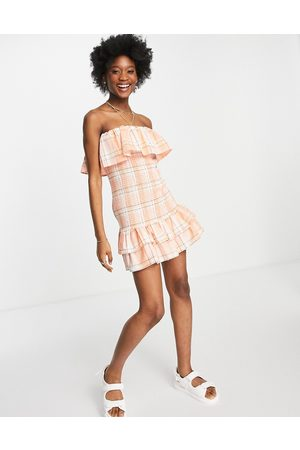 ASOS Shirred bandeau mini sundress with double layer in check-Multi