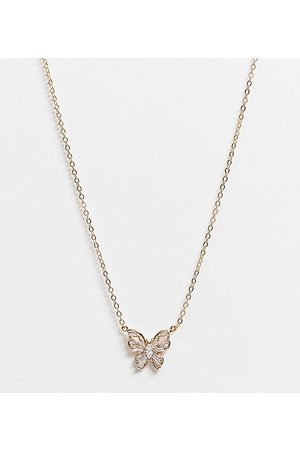 ASOS 14k plated necklace with crystal butterfly pendant
