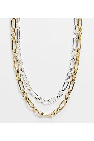ASOS 14k gold and silver plate multirow necklace in link chain