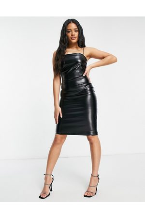 Femme Luxe Pu bodycon dress with thin straps in