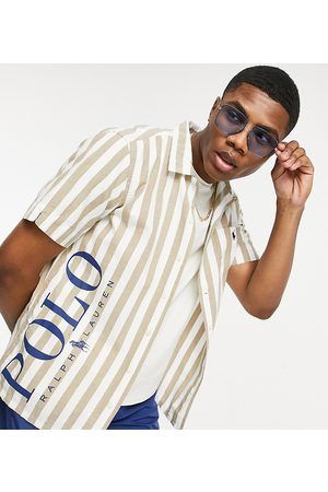 Polo Ralph Lauren X ASOS exclusive collab revere collar stripe shirt in khaki with pony logo-Neutral