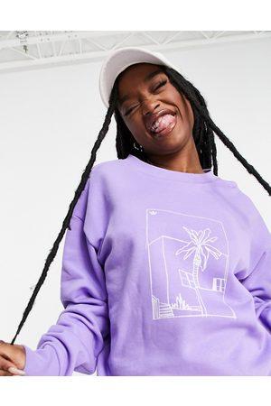 adidas Women Sweatshirts - Boyfriend fit graphic print sweatshirt in