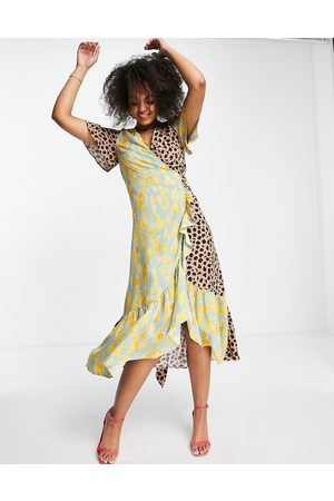 Never Fully Dressed Ruffle hem wrap midaxi dress in contrast leopard print-Multi