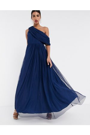 ASOS Tulle fallen shoulder maxi dress in navy