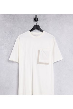 Another Influence Tall boxy oversize pocket t-shirt in ecru