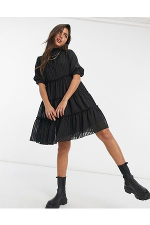 Y.A.S Mini smock dress with pleating and flutter sleeve in