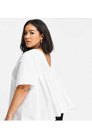 ASOS ASOS DESIGN Curve short sleeve cotton top with back pleating in ivory