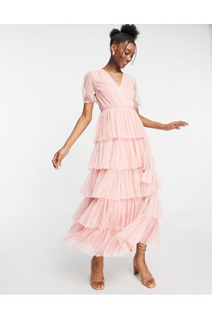 ANAYA With Love puff sleeve midaxi dress with tiered skirt in