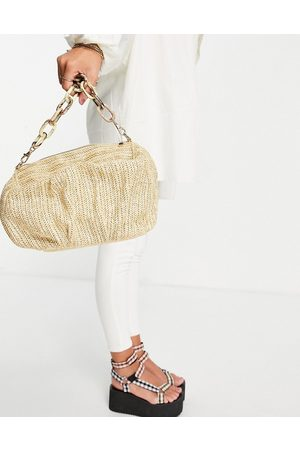 ASOS Oversized ruched clutch bag in natural straw with detachable resin chain-Neutral