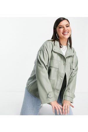 ASOS Curve oversized chuck on faux leather jacket in sage
