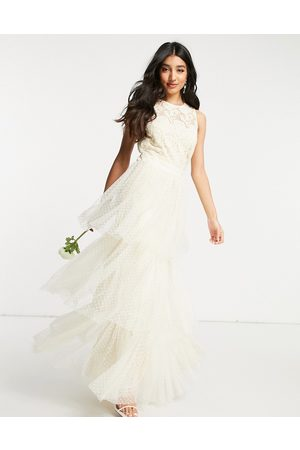 Y.A.S Bridal maxi dress with lace top and tulle tiered skirt in ivory