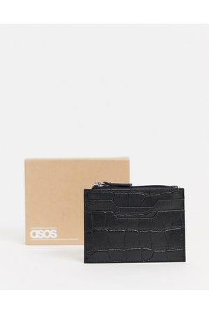 ASOS Leather cardholder in matte croc with zip