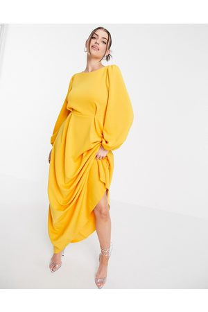 ASOS Maxi prom dress with puff sleeve in marigold