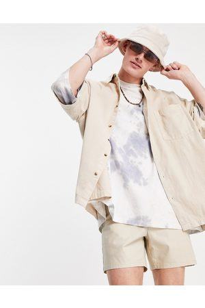 ASOS Boxy oversized cord shirt in stone-Neutral