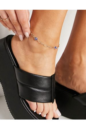 ASOS Anklet with blue eye charms in tone