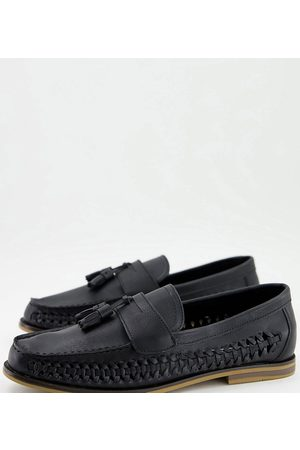 Truffle Collection Wide fit faux leather woven tassel loafers in