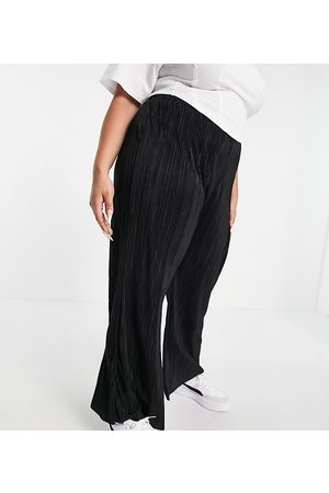 Yours Plisse wide leg trousers in