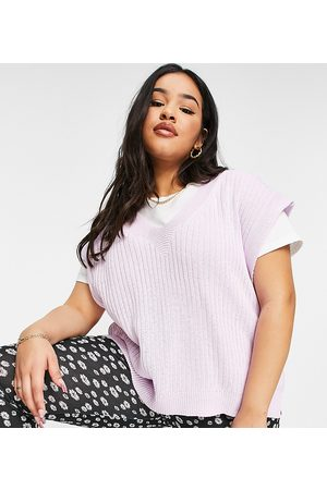 ASOS ASOS DESIGN Curve knitted tank with v neck in lilac
