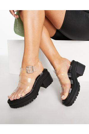 ASOS Hugo chunky mid heeled sandals in clear