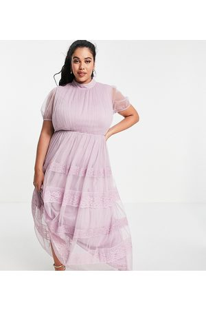 ANAYA Anaya with Love Plus high neck maxi dress with tiered lace and tulle skirt in lilac