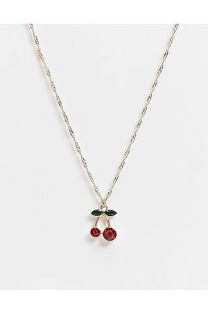 ASOS Necklace with cherry charm in tone