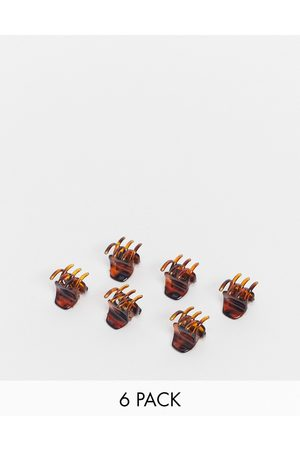ASOS Pack of 6 mini hair claws in tort