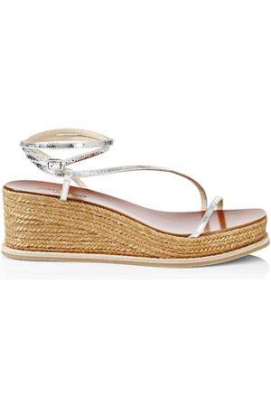 Jimmy Choo Women Wedged Sandals - Drive Metallic Satin & Leather Espadrille Wedge Sandals