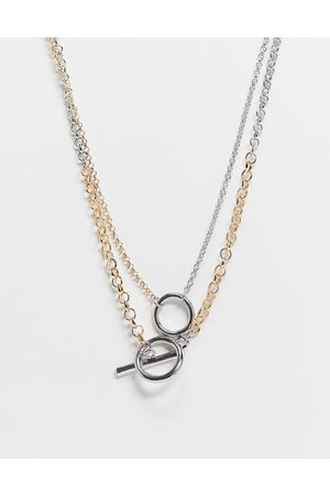 ASOS Multirow necklace in belcher chain with tbar in mixed tone