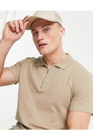 JACK & JONES Originals co-ord zip polo in ribbed -Neutral