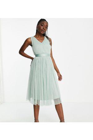 ANAYA Anaya with Love Tall tulle midi dress with ribbon tie waist in misty jade