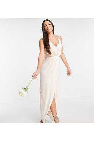 TFNC Bridesmaid satin halterneck top maxi dress in light blush