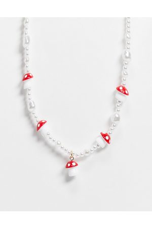 ASOS Necklace with pearl and mushroom beads-Multi