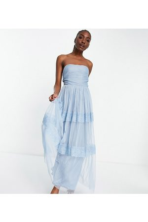 ANAYA Anaya with Love Tall strapless midaxi dress with tiered skirt in pale embossed tulle