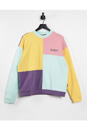 Kickers Relaxed sweatshirt with embroidered logo in vintage colour block-Multi