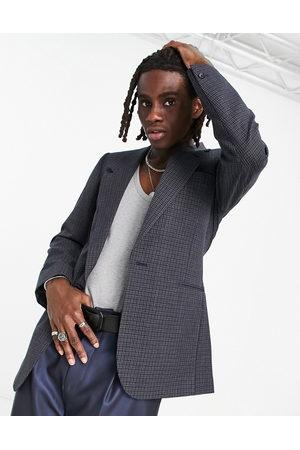 ASOS Skinny longline blazer in navy and grey microcheck