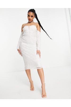 ASOS Cold shoulder sequin midi pencil dress in