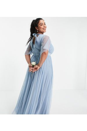 ANAYA Anaya With Love Plus Bridesmaid tulle flutter sleeve maxi dress in soft